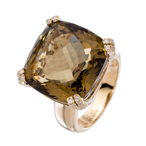 Reid Ring Yellow Gold Olive Quartz