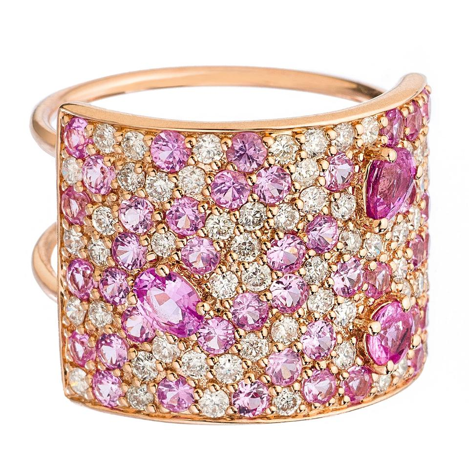 Stardust Ring Rose Gold Pink Sapphire and Diamonds 16mm