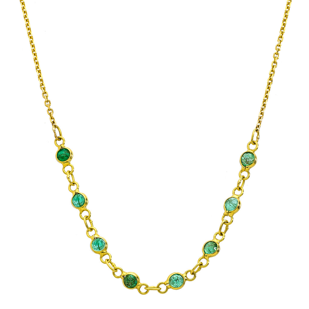 Lola Yellow Gold Necklace Emerald