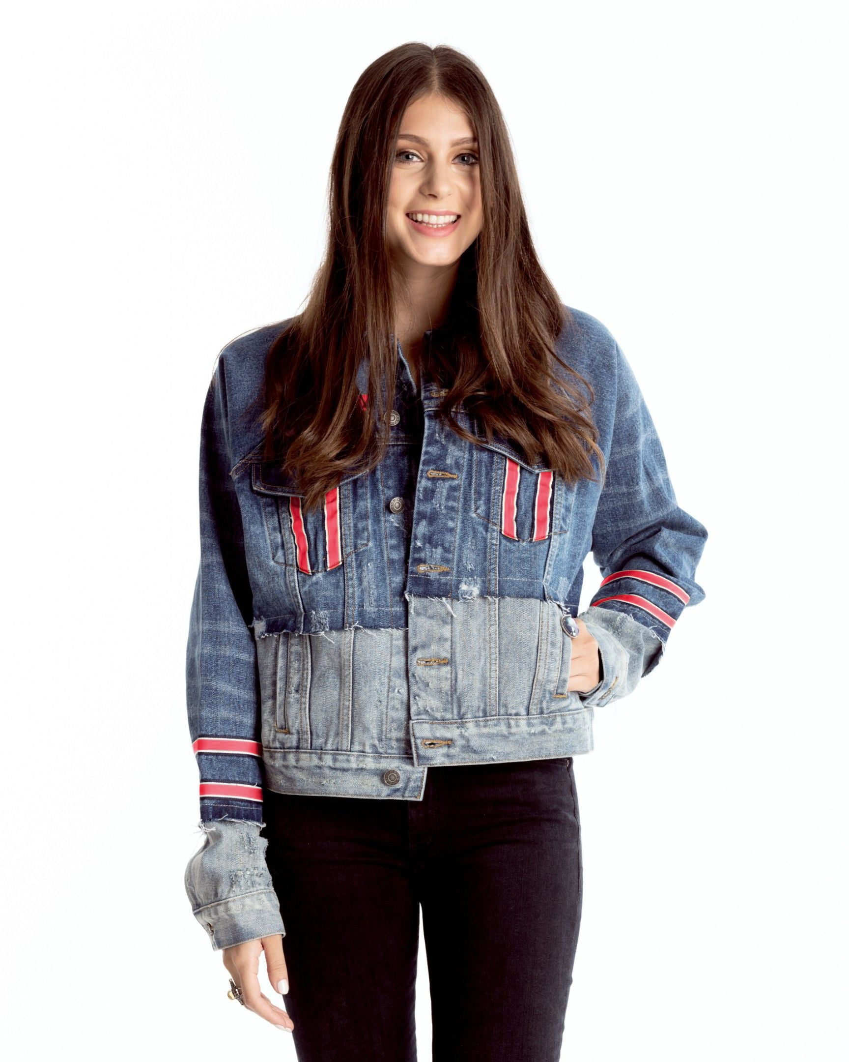Two-Tone Denim Jacket with Red Jersey Stripes Collegiate