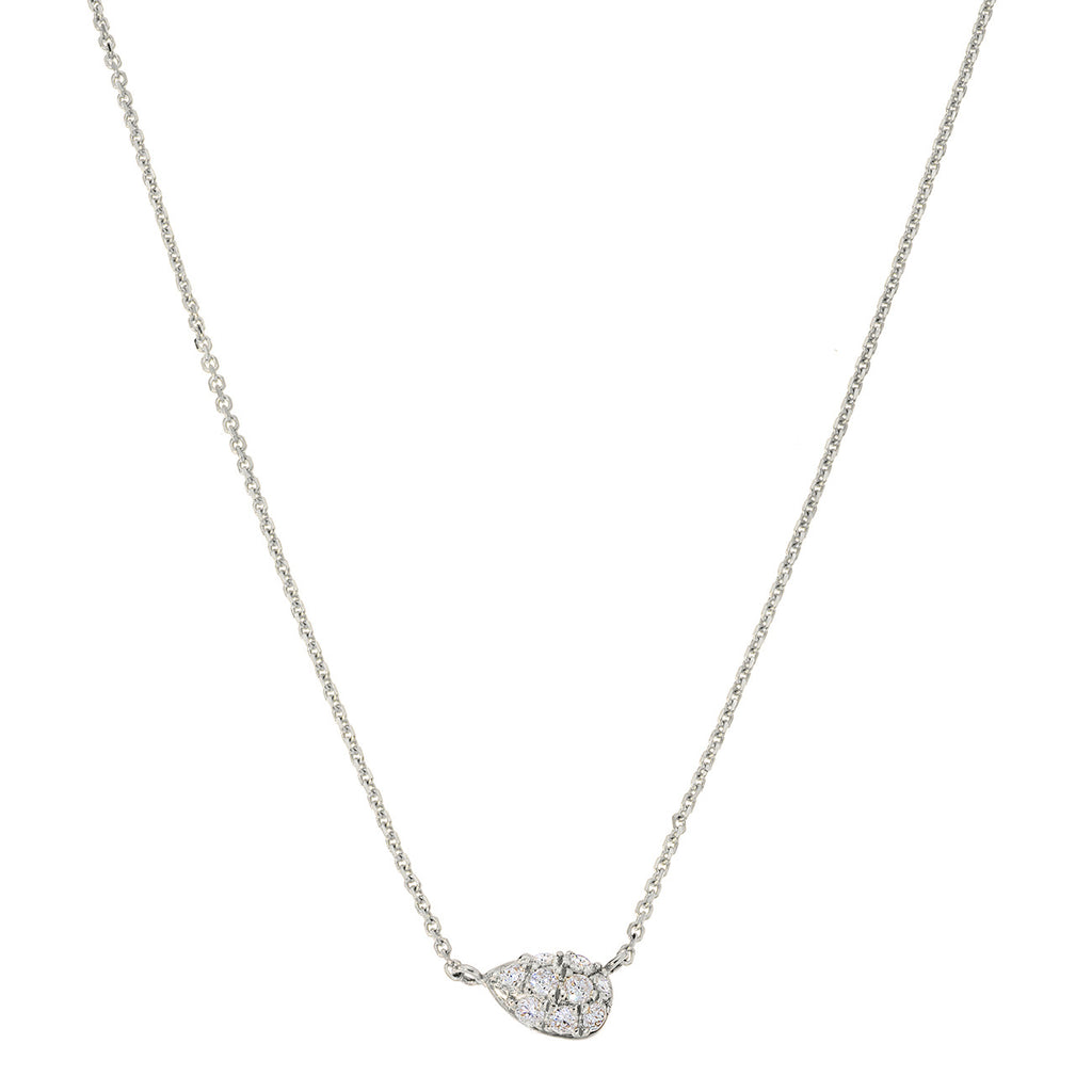Courtney Necklace Silver White Diamonds