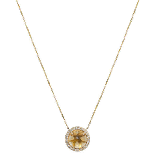 Jacklyn Necklace Yellow Gold Citrine Diamond