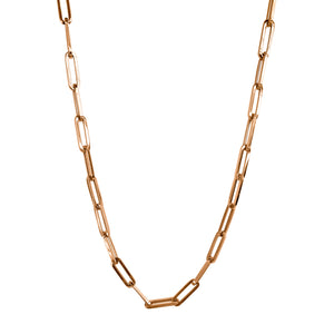 Paper Clip Chain Short Rose Gold