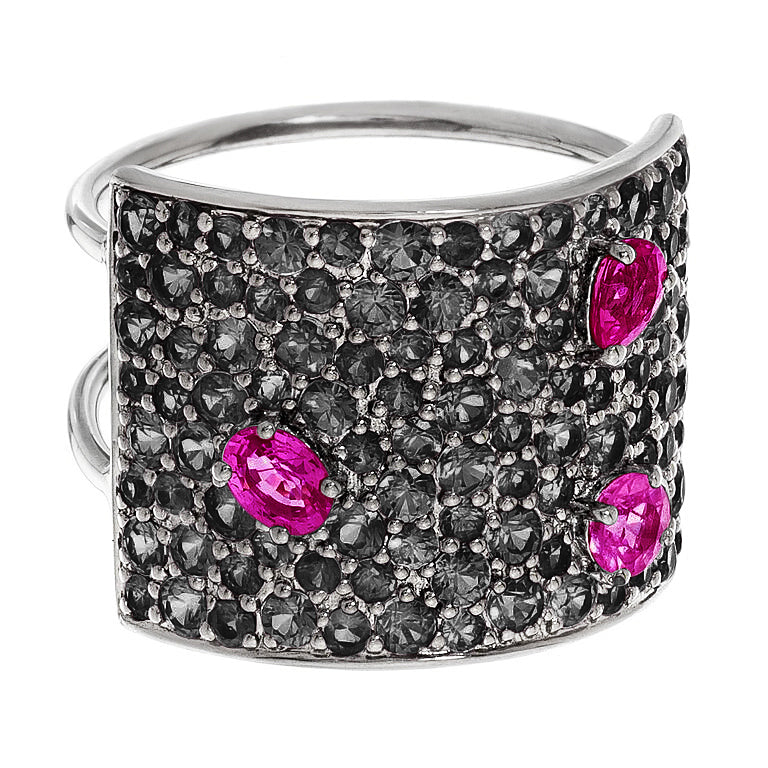 Stardust Ring Silver Black Diamond Ruby 16mm