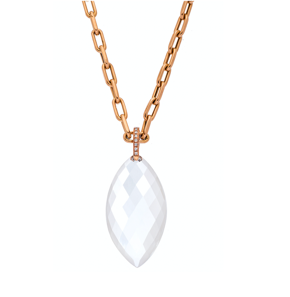 Natalia Necklace Rose Gold Clear Quartz Oval