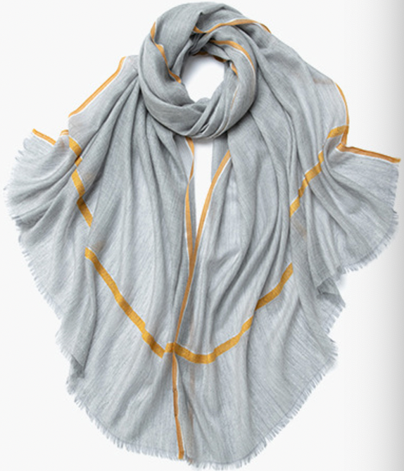 Camille Cashmere Shawl Grey and Orange