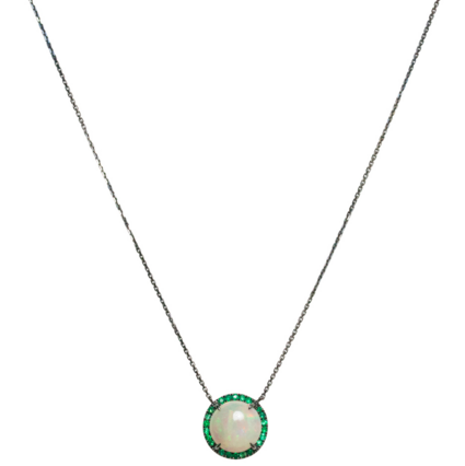Jacklyn Necklace Silver Opal Emerald