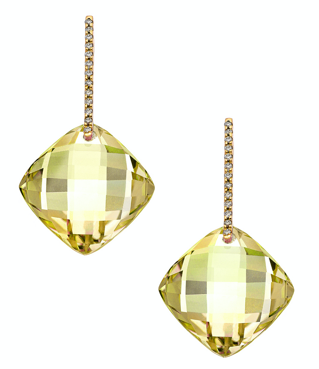 Reid Earrings Yellow Gold Lemon Quartz LG Cushion