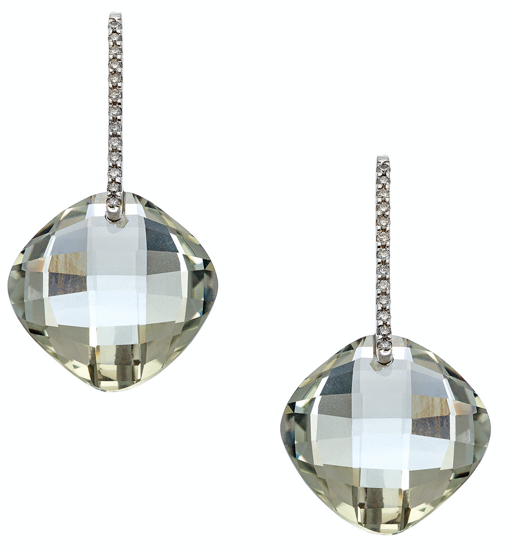 Reid Earrings Silver Green Amethyst LG Cushion