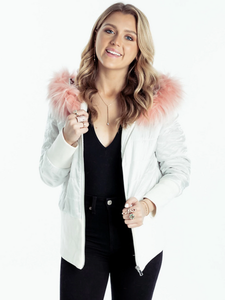 Bomber Jacket White Pink Raccoon