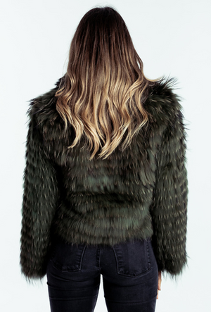 Charlotte Jacket Raccoon Green