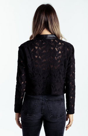 Leather & Lace Jacket Black