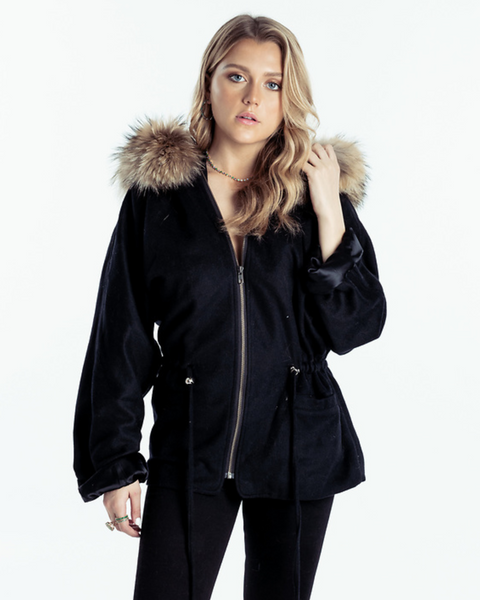 Drawstring Jacket Cashmere Black