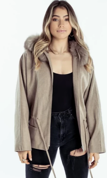 Drawstring Jacket Cashmere Tan