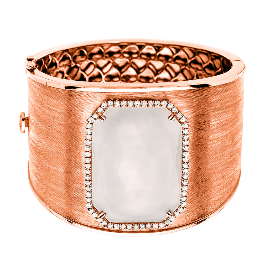 Tabitha Cuff White Quartz Rose Gold