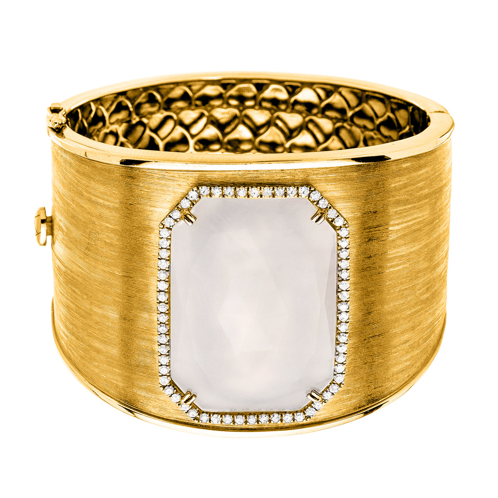 Tabitha Cuff White Quartz Yellow Gold