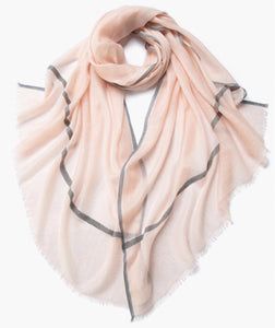 Camille Cashmere Shawl Blush and Grey