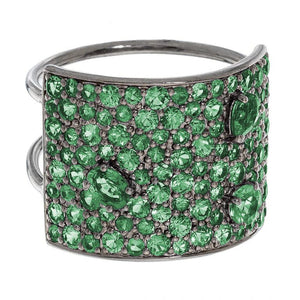 Stardust Ring Silver Emerald 16mm
