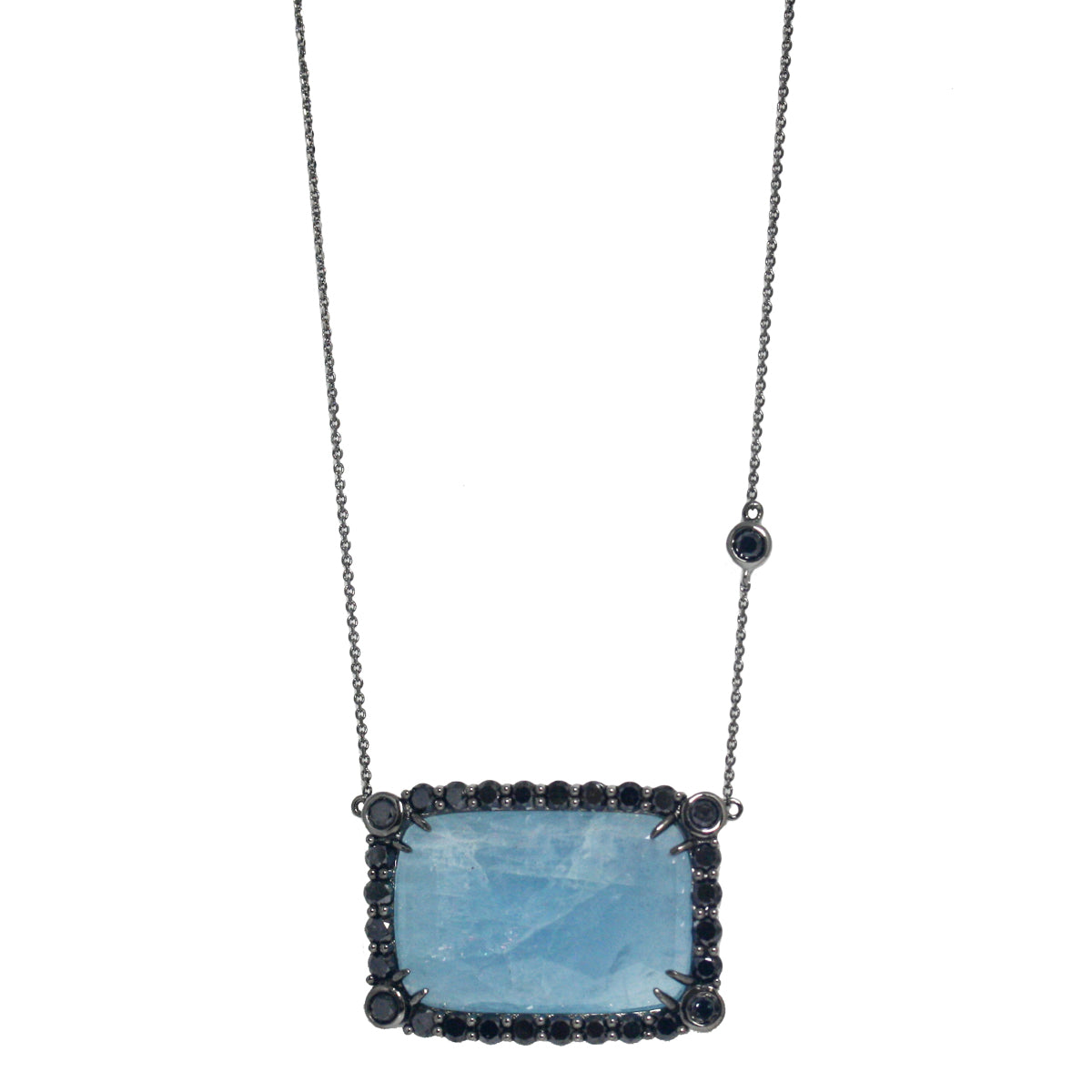 Anika Necklace Black Diamond Milky Aquamarine Silver