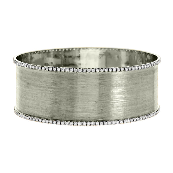 Hollie Double Bangle Silver Diamond