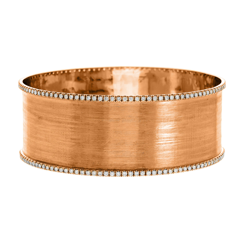 Hollie Double Bangle Rose Gold White Diamonds