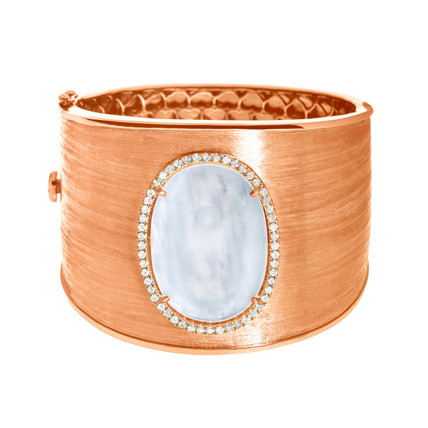 Linda Cuff White Quartz Rose Gold