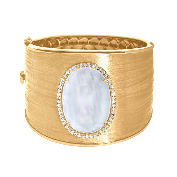 Linda Cuff White Quartz Yellow Gold