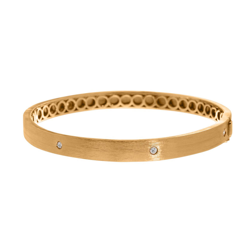 Nick Bangle Yellow Gold White Diamond