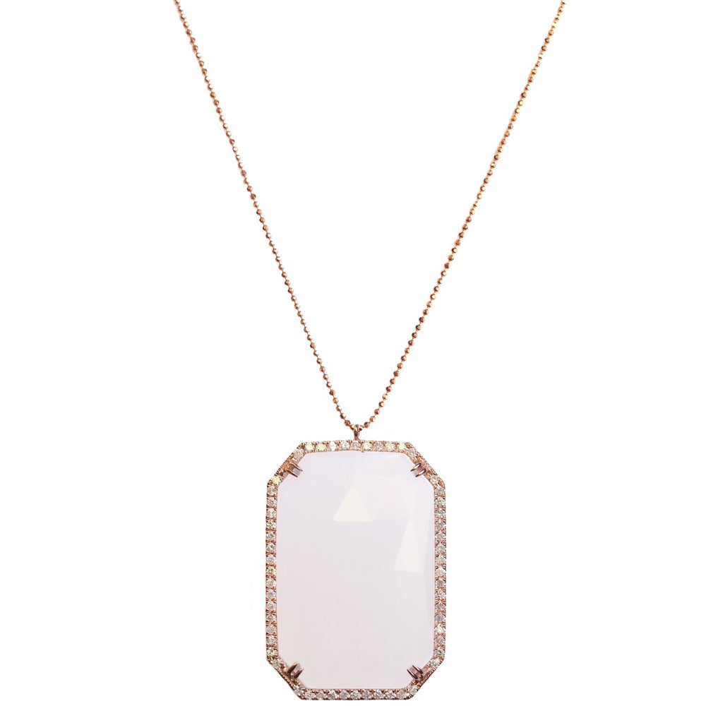 Tina Necklace Rose Gold White Quartz