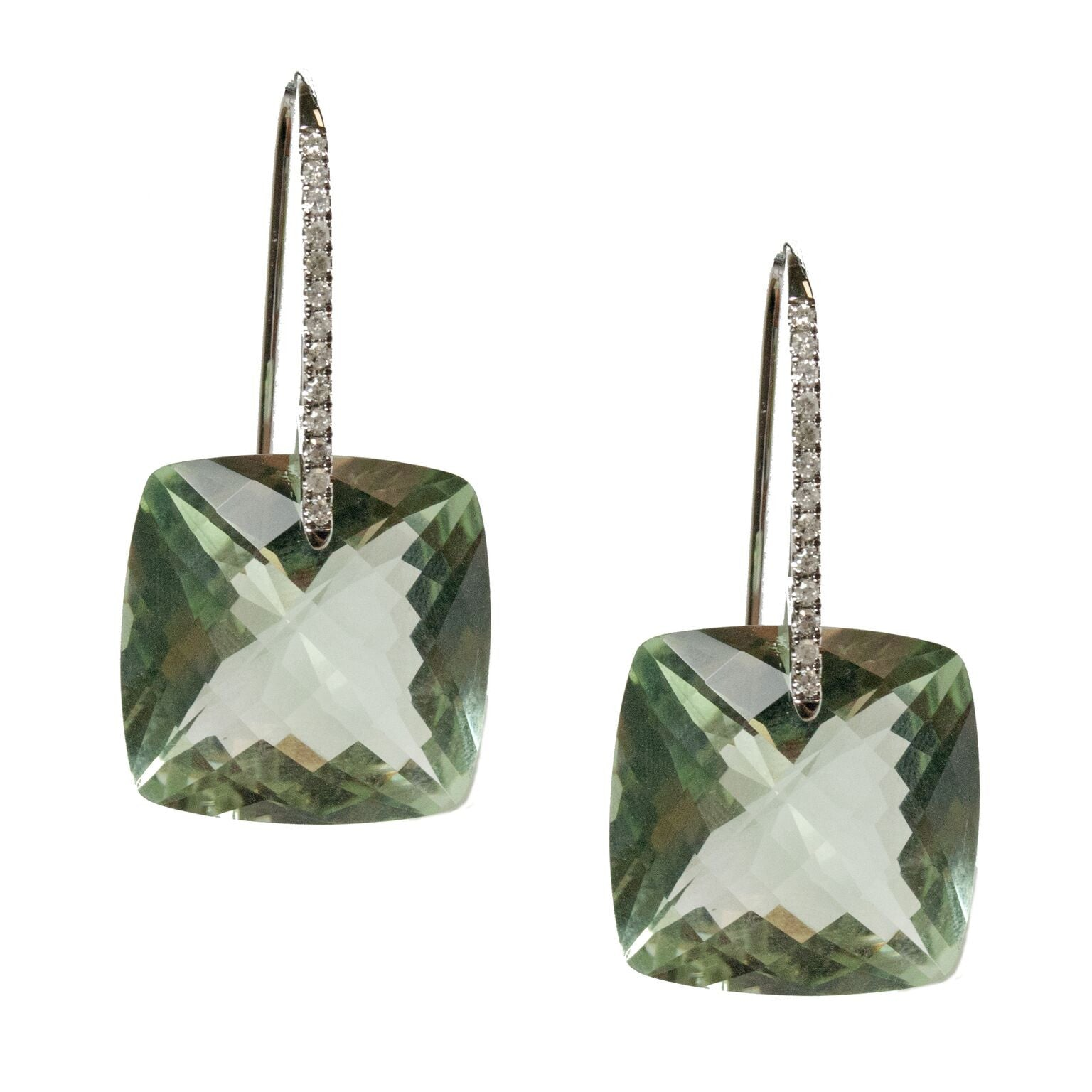 Reid Earrings White Gold Green Amethyst