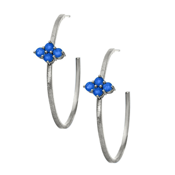 Asher Hoops Silver Blue Sapphire