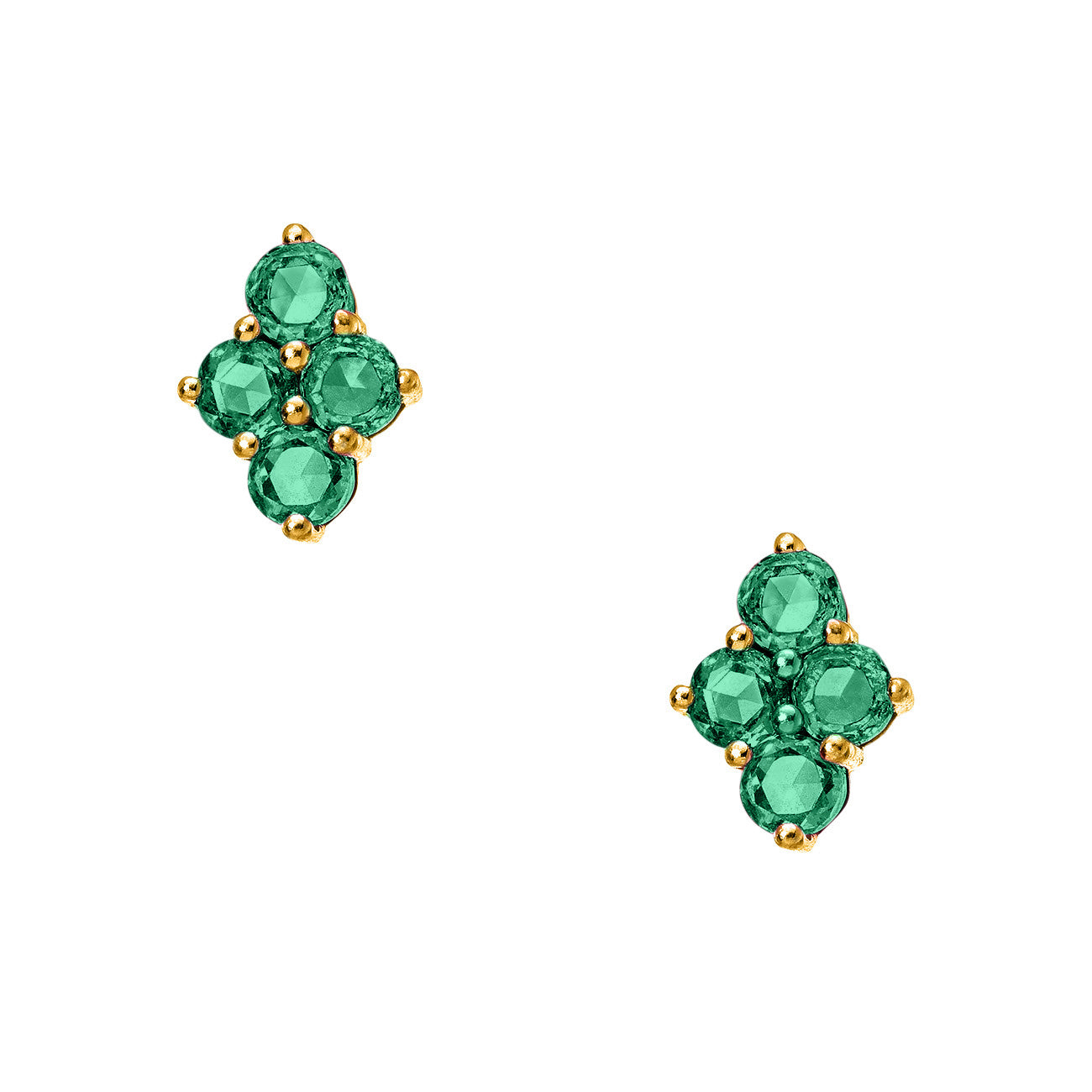 Asher Studs Yellow Gold Emerald