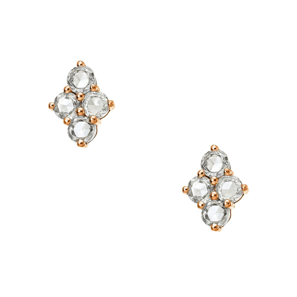 Asher Studs Rose Gold White Diamond