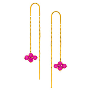 Asher 2-Sided Threaders Yellow Gold Ruby