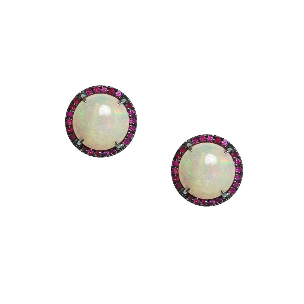 Jacklyn Studs Silver Moonstone Ruby