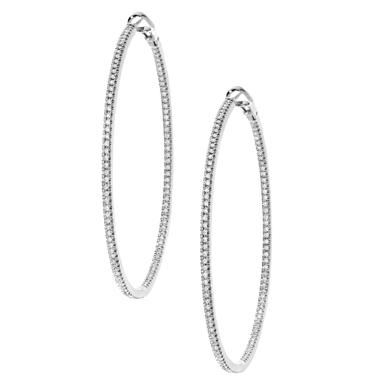 Mary Hoops Large White Gold
