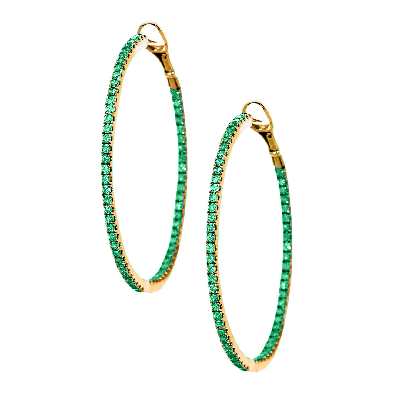 Mary Hoops Yellow Gold Emerald 1.5mm