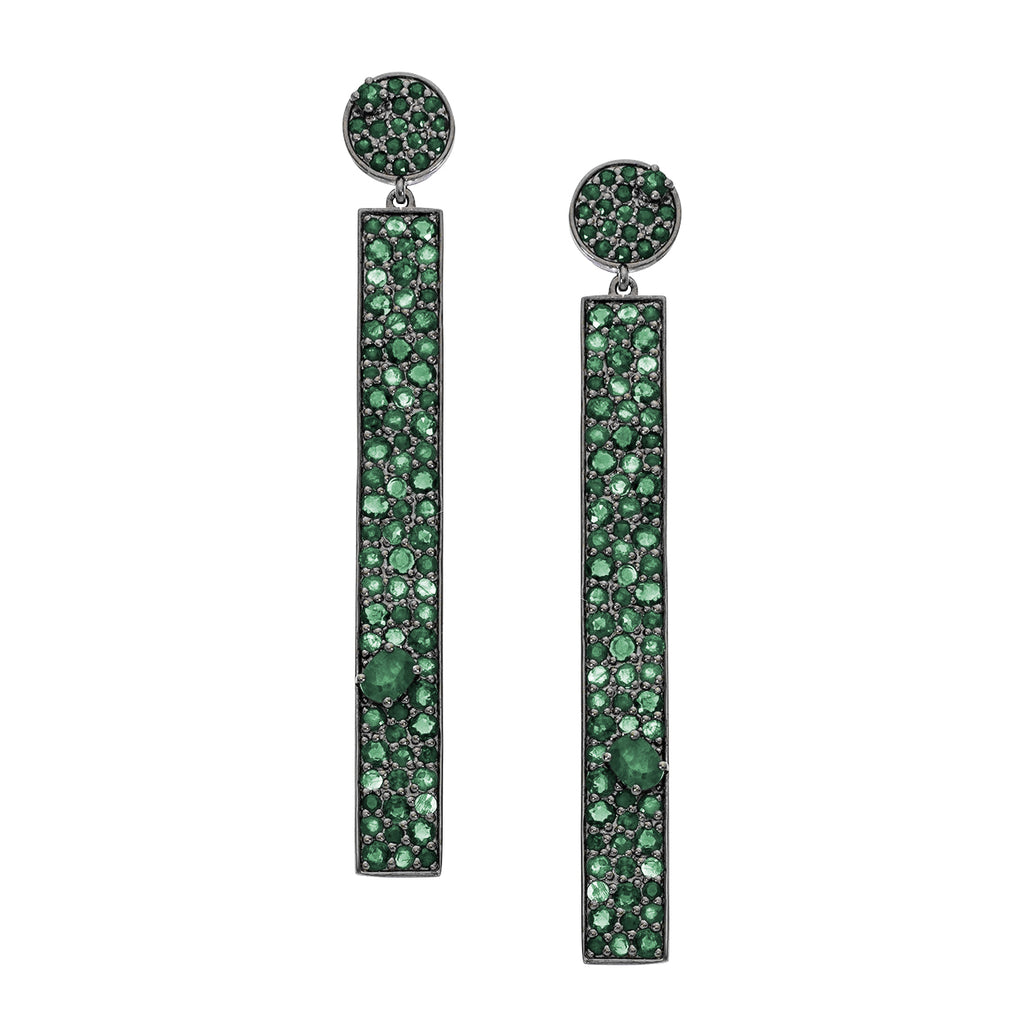 Stardust Earrings Silver Emerald