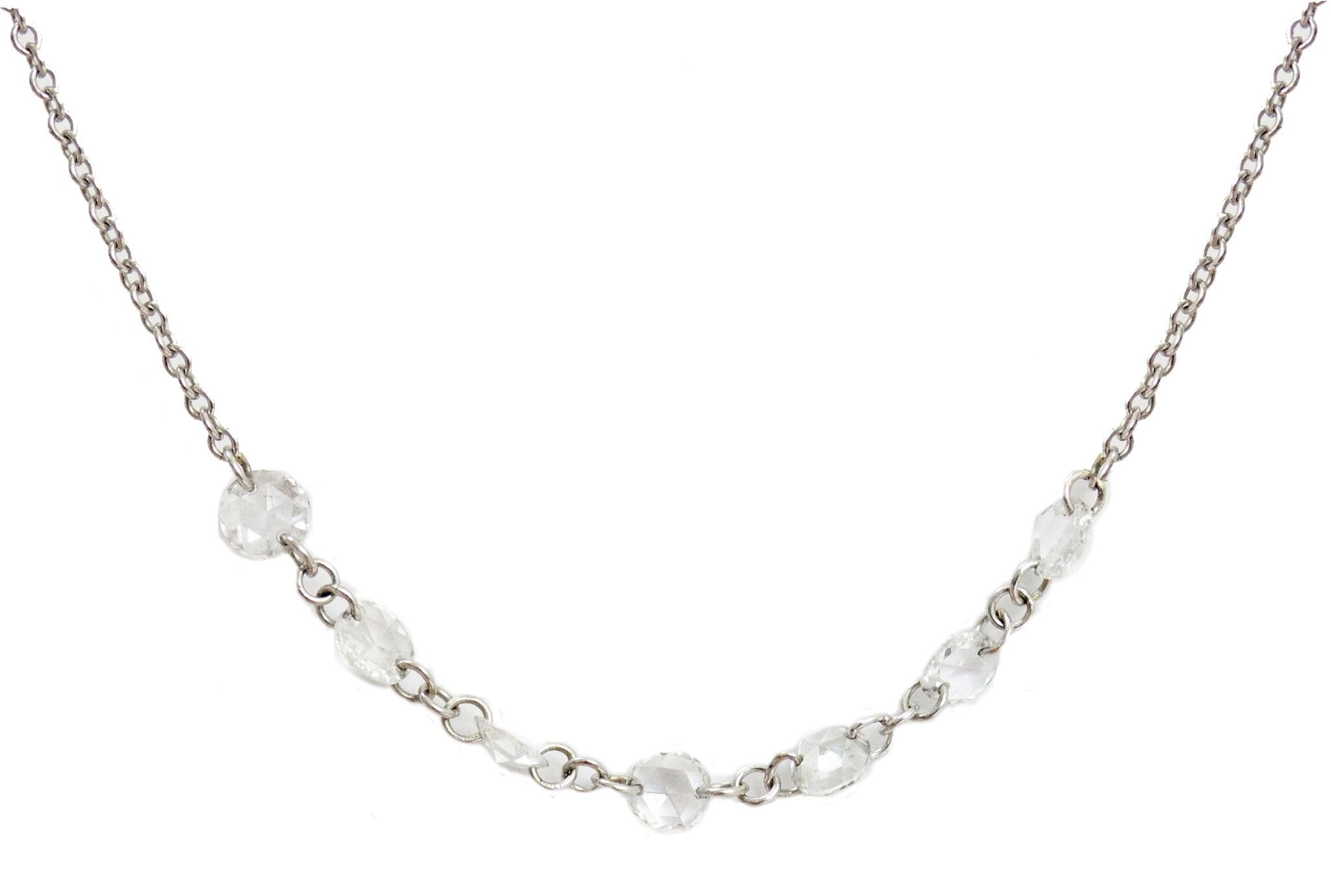 "Lolo Necklace 18"" White Gold Rose Cut Diamond"