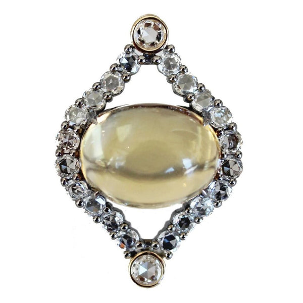 Courtney Ring Silver Citrine Rose Cut Diamond