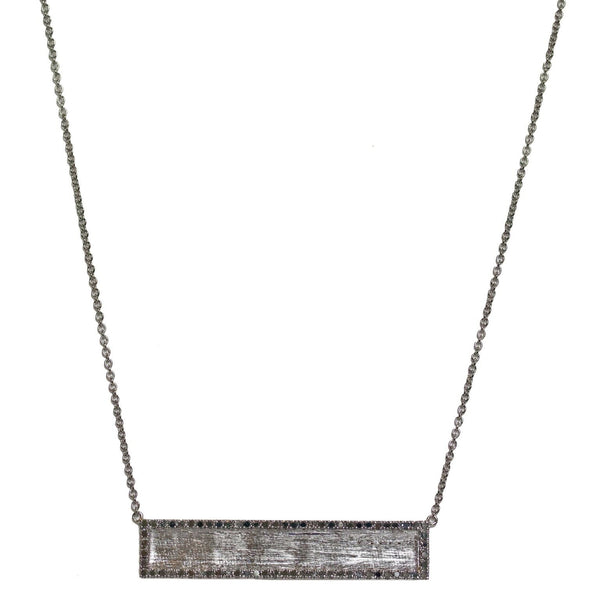 Hollie Horizontal Necklace Silver Black Diamond
