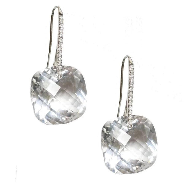 Reid Earrings White Gold Clear Quartz