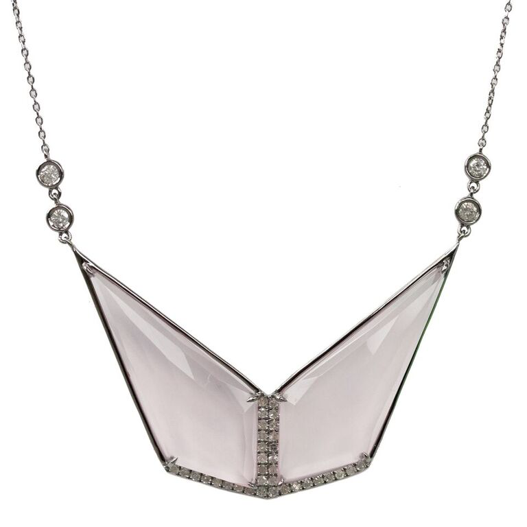 Madison Necklace Rose Quartz Silver