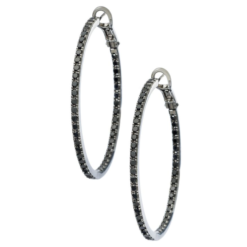 Mary Hoops Silver Black Diamond 1.5mm