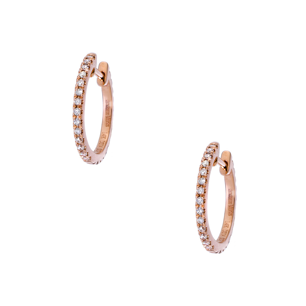 Lillian Double Sided Rose Gold Huggies 1mm