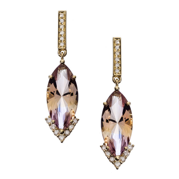 Amelia Earrings Yellow Gold Ametrine