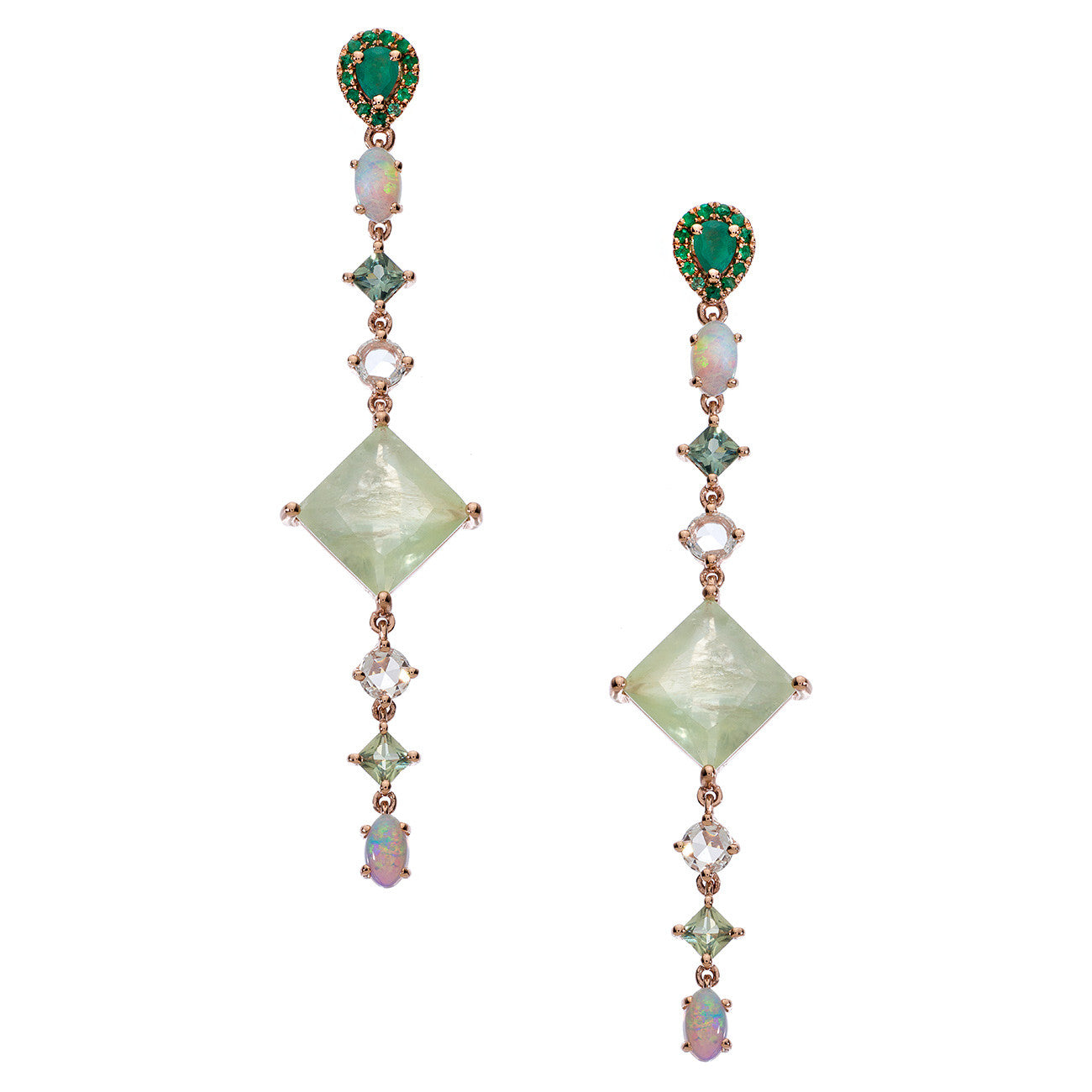Sol Earrings Prehnite Rose Gold