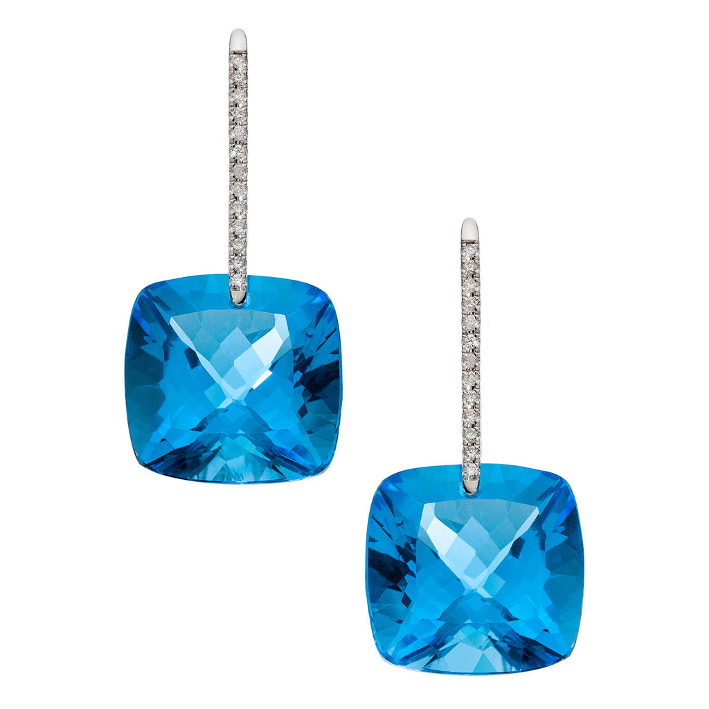 Reid Earrings White Gold Swiss Blue Topaz