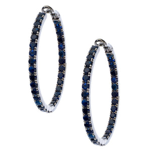 Mary Hoops Silver Sapphire 3.5mm