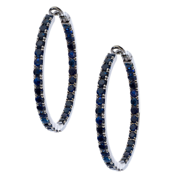 Mary Hoops 3.5mm Silver Sapphire